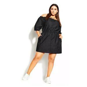 NEW CITY CHIC 'Denim Heart' Black Off The Shoulder Dress Plus Size XXL AU 24